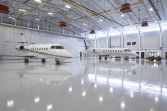 Epoxy flooring in aviation hangar